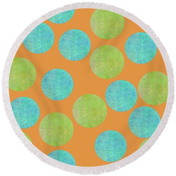 Malaysian Batik Polka Dot Print Round Beach Towel