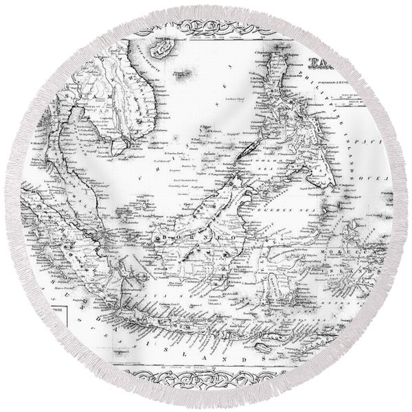 Map Of The East Indies  Engraving Round Beach Towel