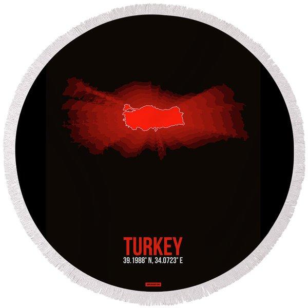 Map Of Turkey Round Beach Towel