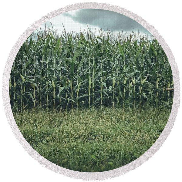 Maize Field Round Beach Towel