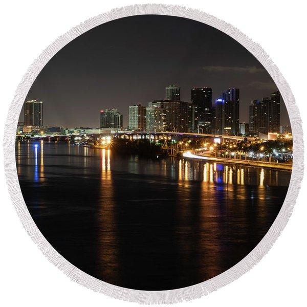 Miami Lights At Night Round Beach Towel