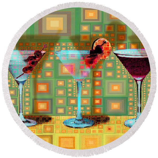 Mid Century Modern Abstract Mcm Three Martinis Shaken Not Stirred 20190127 V1a Round Beach Towel