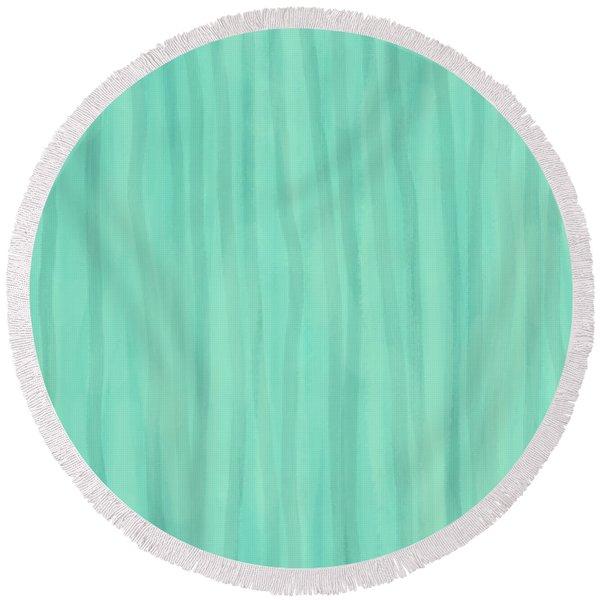 Mint Green Lines Round Beach Towel