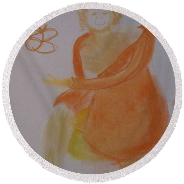 model named Helene three Round Beach Towel