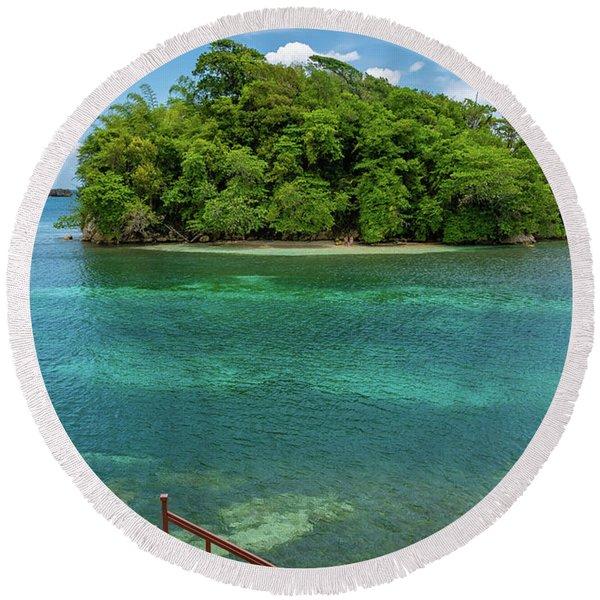 Monkey Island In Portland Jamaica Round Beach Towel