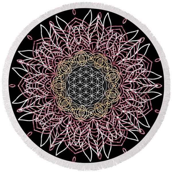 Moon Mandala Round Beach Towel