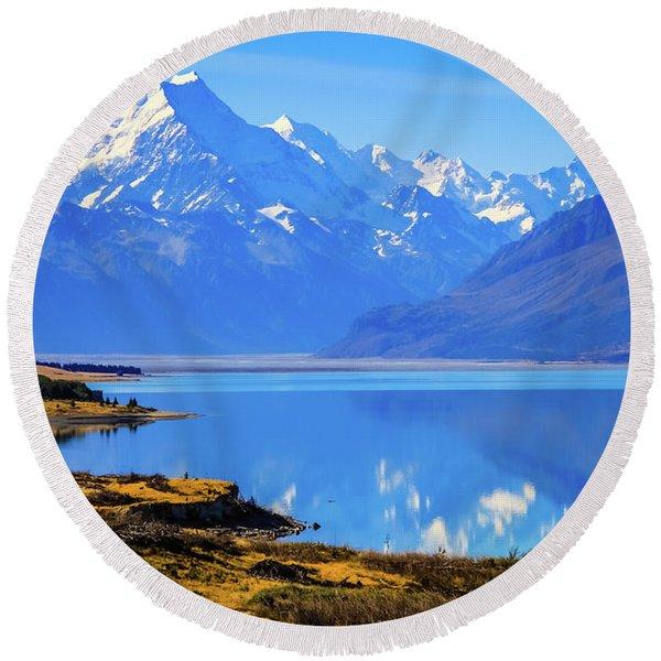Mount Cook Overlooking Lake Pukaki,  New Zealand Round Beach Towel