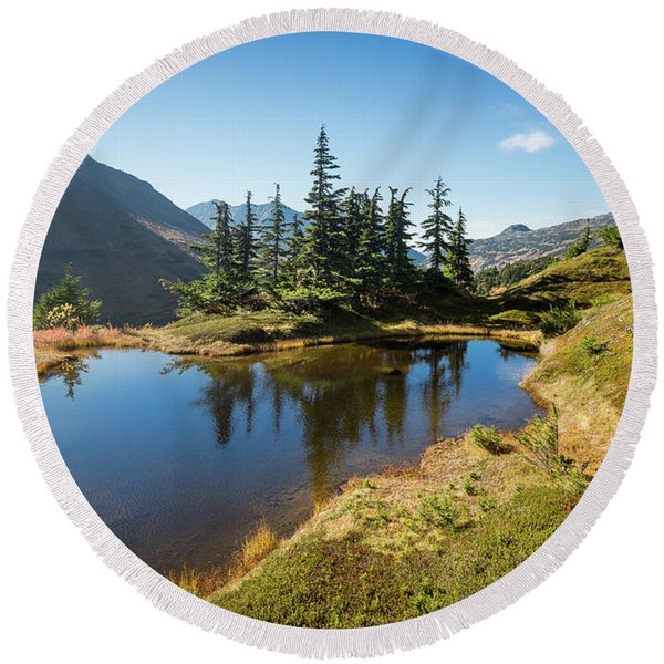 Round Beach Towel featuring the photograph Mountain Pond by Tim Newton