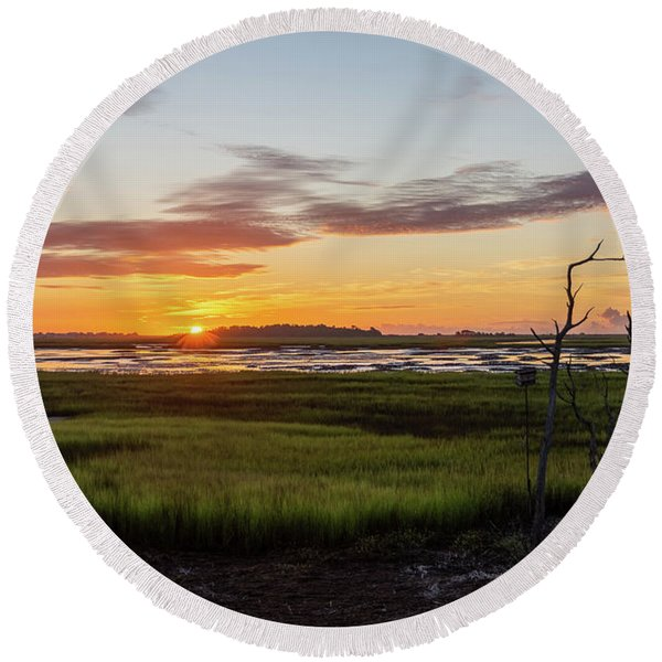 Murrells Inlet Sunrise - August 4 2019 Round Beach Towel
