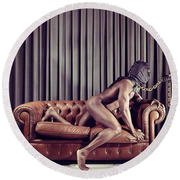 Naked Man With Mask On A Sofa Round Beach Towel