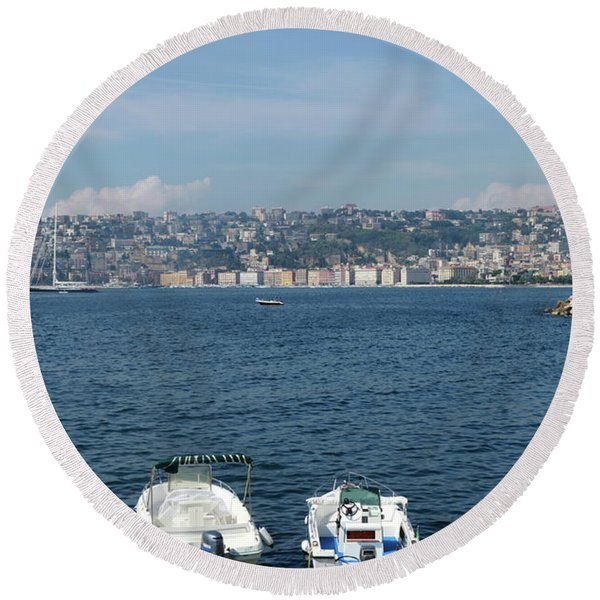 Naples Port Round Beach Towel
