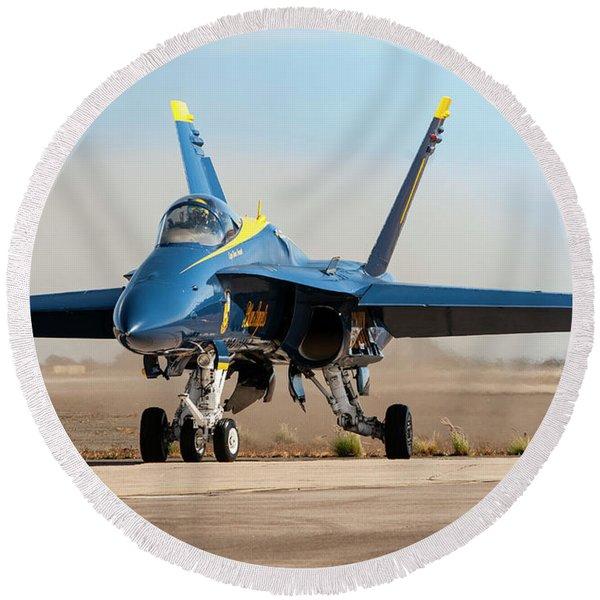 Navy Blue Angels Hornet Round Beach Towel