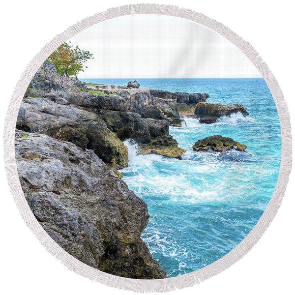 Negril Jamaica Cliffs Round Beach Towel