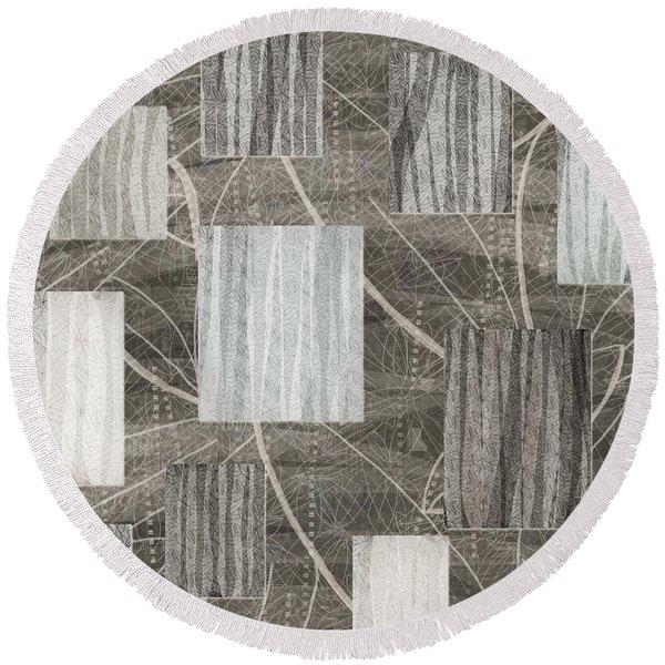 Neutral Leaf Print Squares Cream Round Beach Towel
