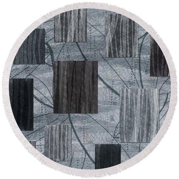 Neutral Toned Leaf Square Print Round Beach Towel