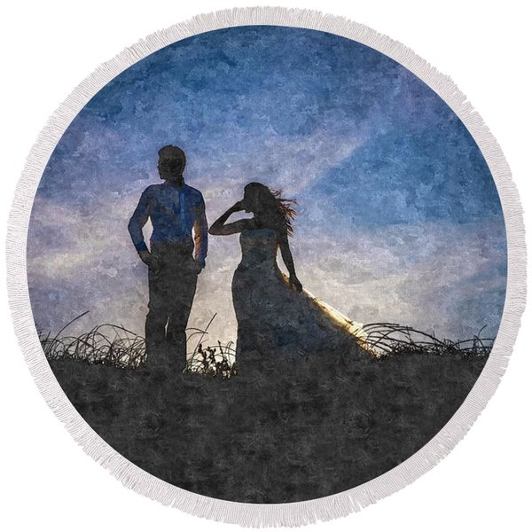 Newlywed Couple After Their Wedding At Sunset, Digital Art Oil P Round Beach Towel