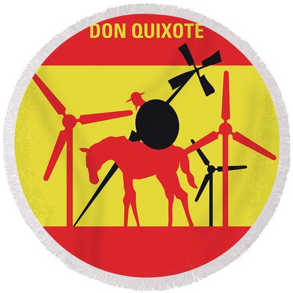 No1008 My The Man Who Killed Don Quixote Minimal Movie Poster Round Beach Towel