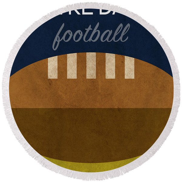 Notre Dame Football Minimalist Retro Sports Poster Series 005 Round Beach Towel