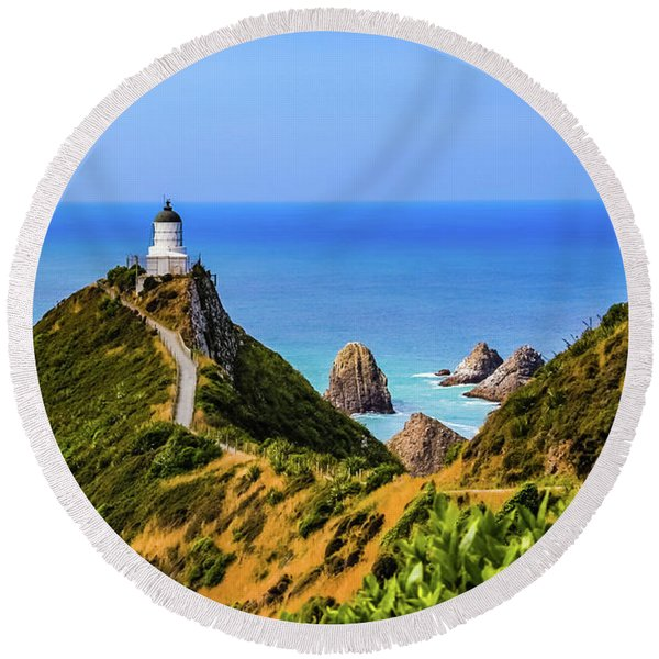 Nugget Point Lighthouse, New Zealand Round Beach Towel