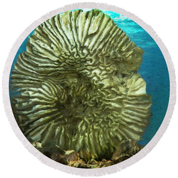 Ocean With Its Life Underground Round Beach Towel
