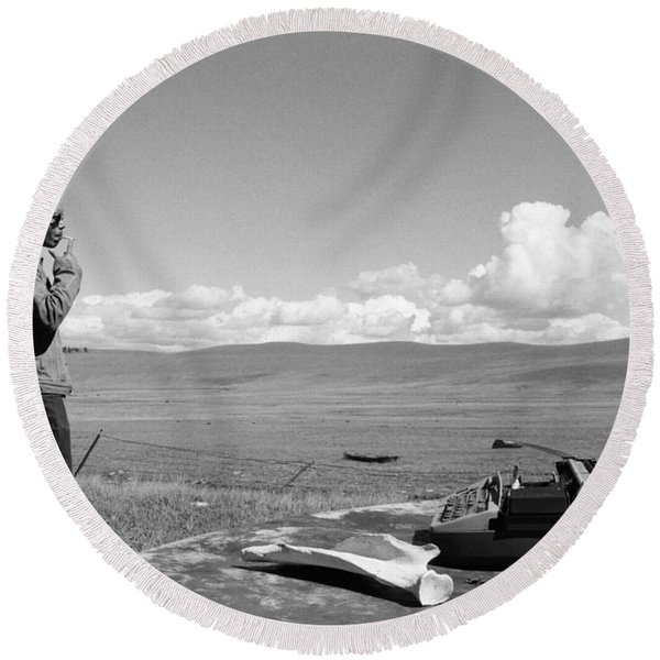 Round Beach Towel featuring the photograph Office Of The Poet by Carl Young
