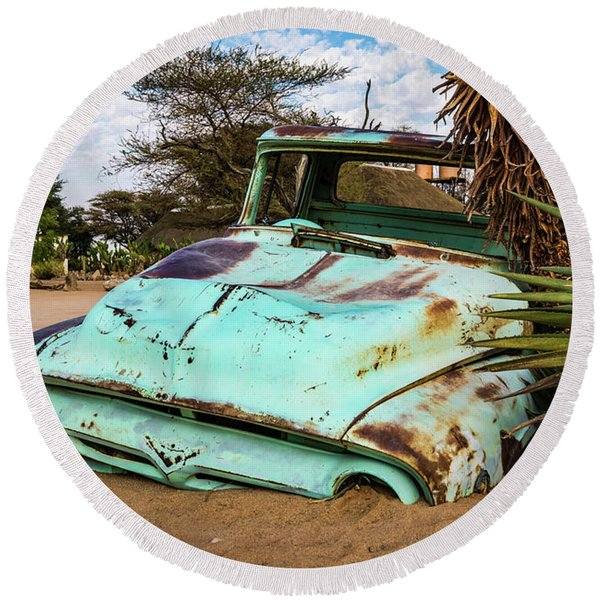Old And Abandoned Car 2 In Solitaire, Namibia Round Beach Towel