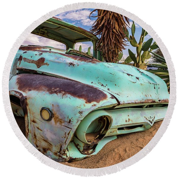 Old And Abandoned Car 7 In Solitaire, Namibia Round Beach Towel