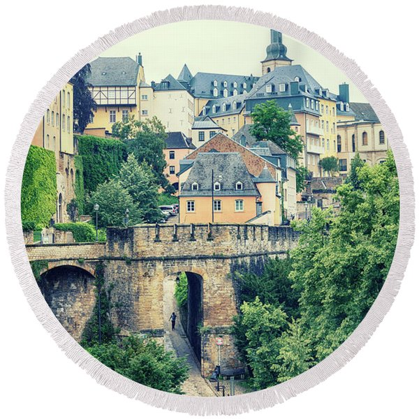 Round Beach Towel featuring the photograph old city Luxembourg from above by Ariadna De Raadt