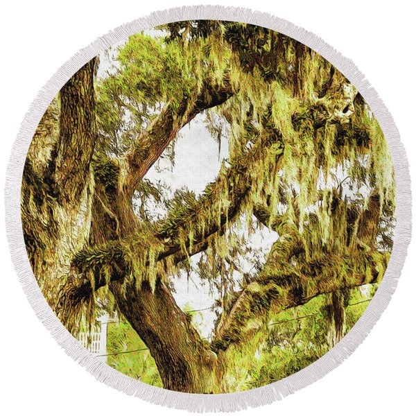 Old Mossy Oaks Round Beach Towel