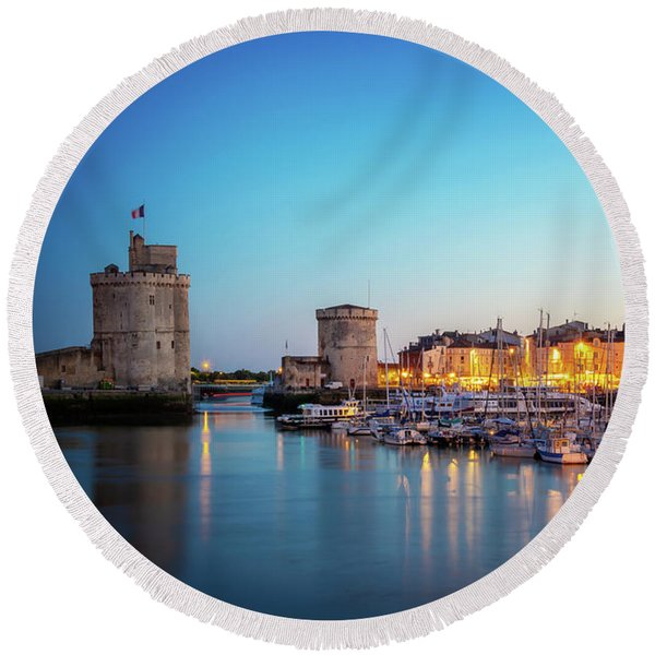 Old Port Of La Rochelle At Night Round Beach Towel