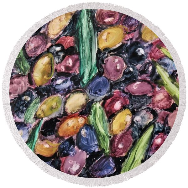 Olives Ready For Pressing Round Beach Towel