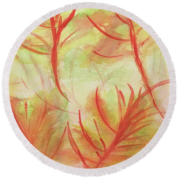 Orange Fanciful Leaves Round Beach Towel