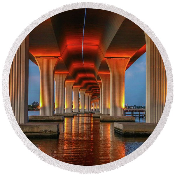 Orange Light Bridge Reflection Round Beach Towel