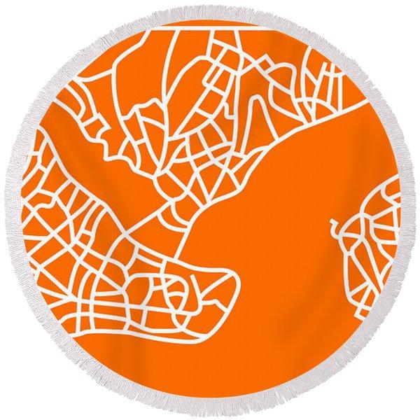 Orange Map Of Istanbul Round Beach Towel