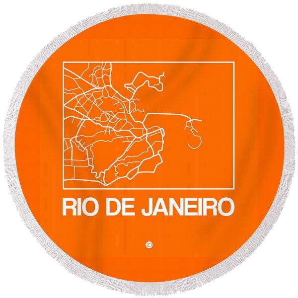 Orange Map Of Rio De Janeiro Round Beach Towel