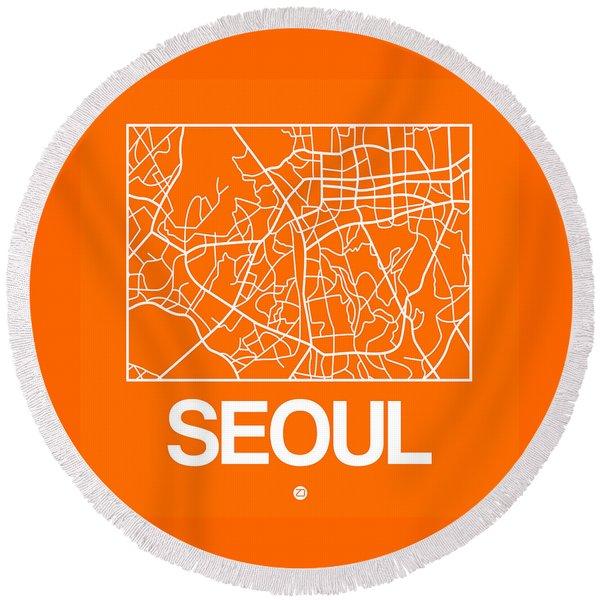 Orange Map Of Sao Paulo Round Beach Towel