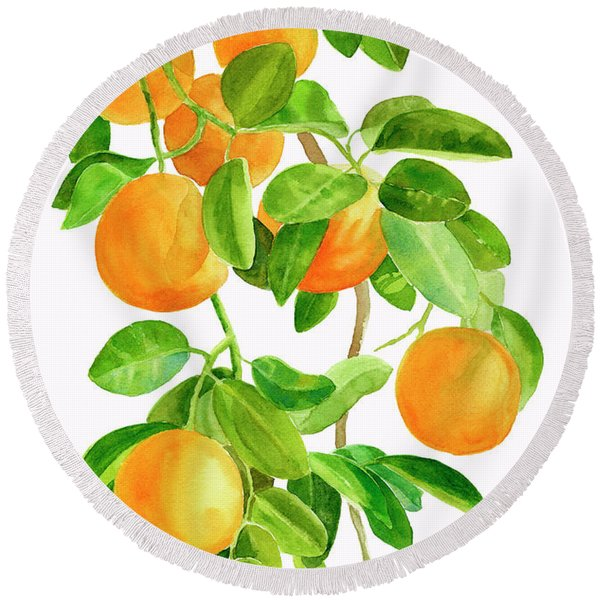 Oranges On A Branch Round Beach Towel