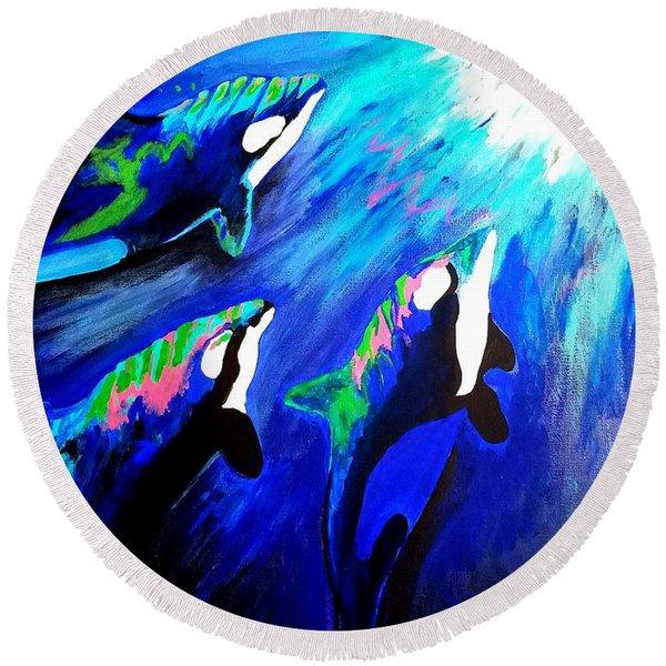 Orcas  Round Beach Towel