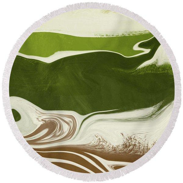 Organic Wave 2- Art By Linda Woods Round Beach Towel