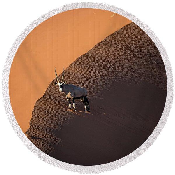Oryx On The Edge, Namibia Round Beach Towel