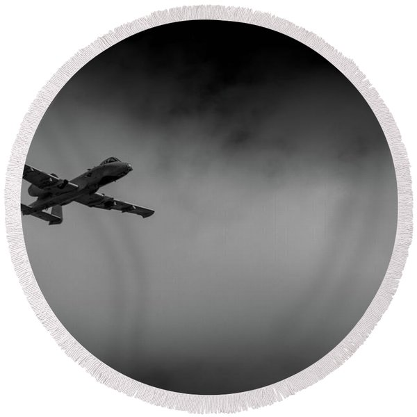 Out Of The Clouds - A-10c Thunderbolt Round Beach Towel