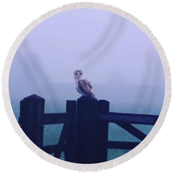 Owl In The Mist Round Beach Towel