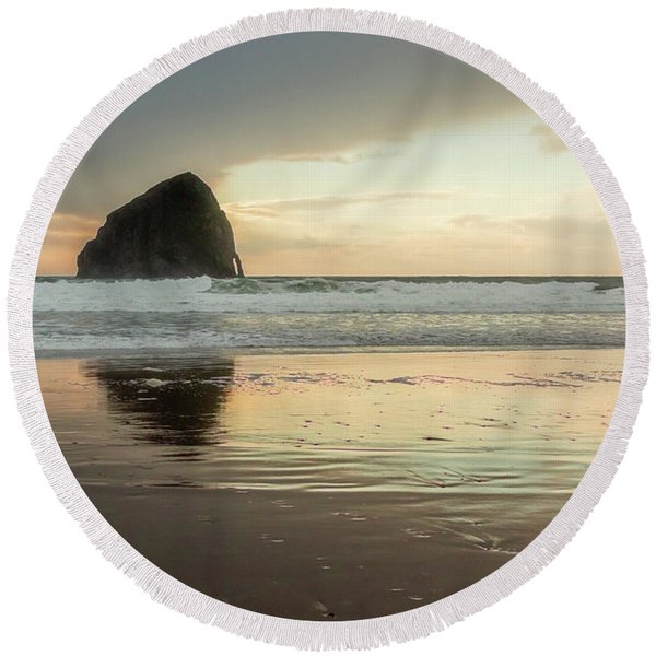Pacific City Sea Stack Round Beach Towel