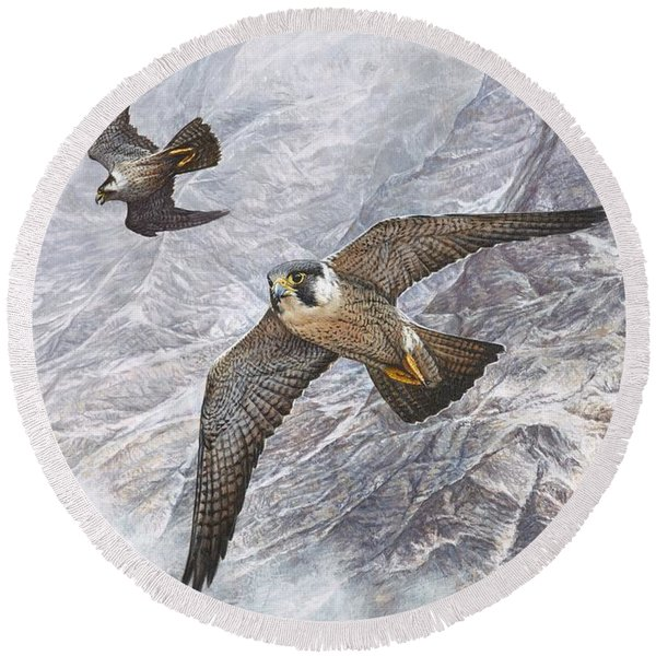 Pair Of Peregrine Falcons In Flight Round Beach Towel