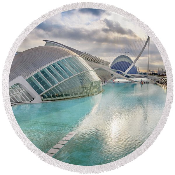 Panoramic Cinema In The City Of Sciences Of Valencia, Spain, Vis Round Beach Towel