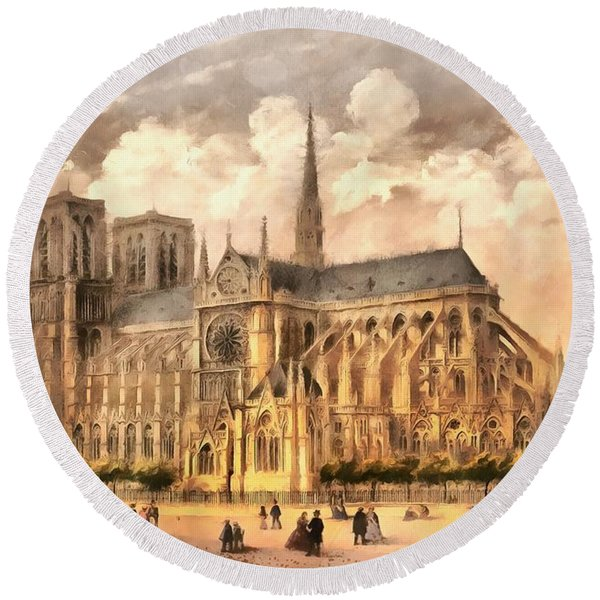 Paris Notre Dame Cathedral France Round Beach Towel