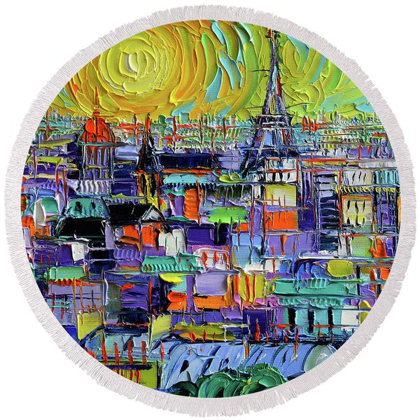 Paris Rooftops View From Notre Dame Towers - Textural Impressionist Stylized Cityscape Mona Edulesco Round Beach Towel