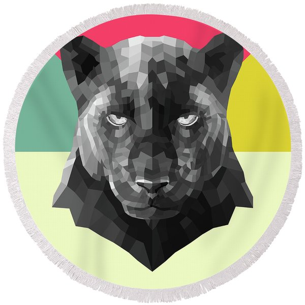 Party Panther Round Beach Towel