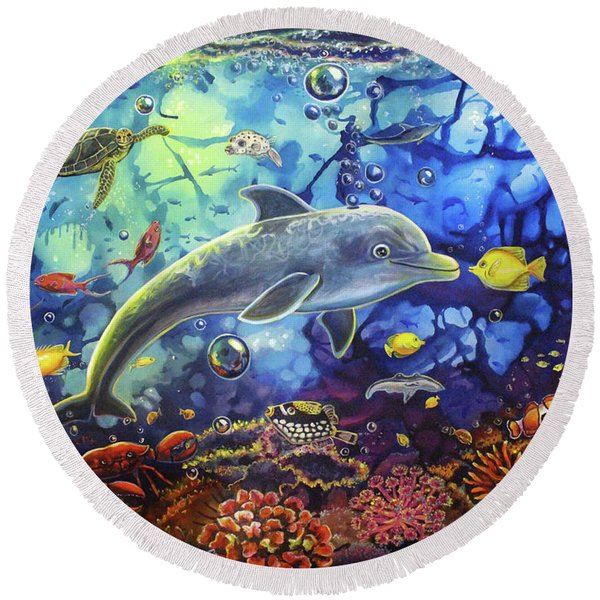 Past Memories New Beginnings Dolphin Reef Round Beach Towel
