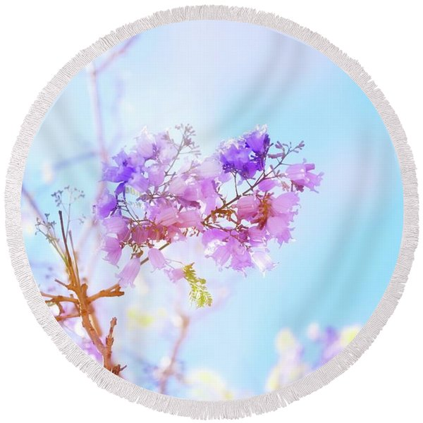 Pastels In The Sky Round Beach Towel